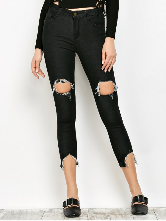 outfits Zip Fly Ripped Narrow Feet Jeans - BLACK S