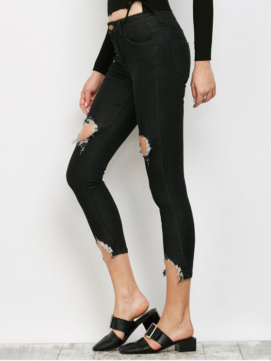 Zip Fly Ripped Narrow Feet Jeans - BLACK S Mobile