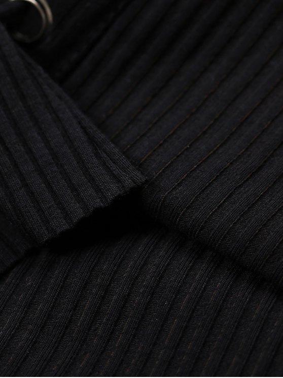 Grommet Lace Up Ribbed Jumper - BLACK L Mobile