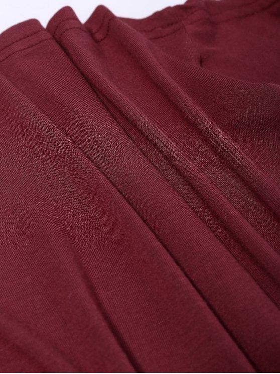 Long Sleeve Wrap Tie Criss Cross Crop Top - BURGUNDY XL Mobile