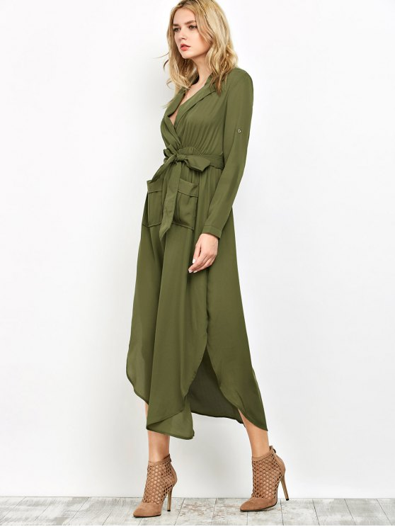 Chiffon Lapel Collar Longline Blouse - GREEN M Mobile