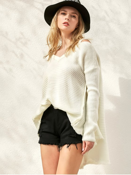 Distressed Cold Shoulder Sweater - WHITE ONE SIZE Mobile