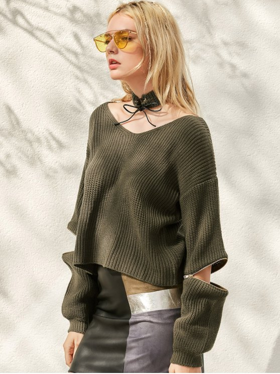 Zippered Cropped Jumper With Choker - BLACKISH GREEN ONE SIZE Mobile