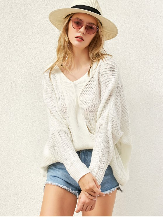 Back Lace Up Loose Fitting V Neck Sweater - WHITE ONE SIZE Mobile