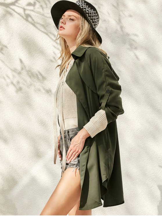 Buttoned Waterfall Trench Coat - ARMY GREEN L Mobile