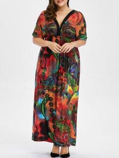 Bohemian Print Plus Size Maxi Dress - Red L