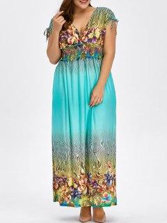 Floral Print Bohemian Plus Size Long Hawaiian Maxi Dress - Light Blue L
