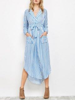 فستان طويلة بالمخطط و الأكمام الطويلة و التمزيق و الأكياس  - أزرق S