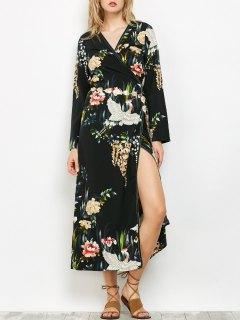 Oriental Print Midi Wrap Dress - Black S