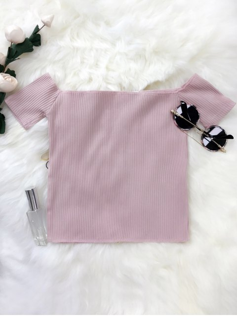 hot Lace Up Off The Shoulder Cropped Top - SUEDE ROSE ONE SIZE Mobile
