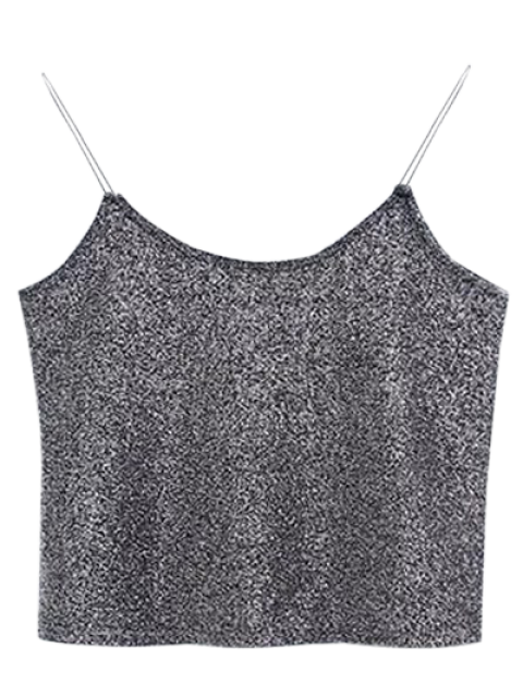 online Glitter Cropped Cami Top - GRAY ONE SIZE Mobile