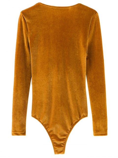 trendy Front Knot Low Cut Velvet Bodysuit - YELLOW OCHER L Mobile