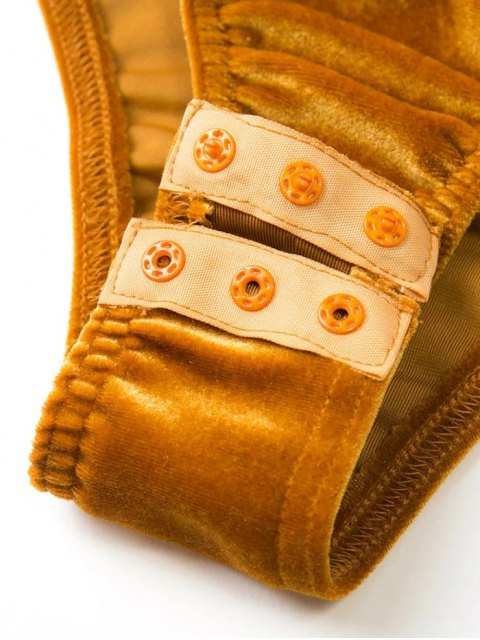 fancy Front Knot Low Cut Velvet Bodysuit - DEEP PINK L Mobile