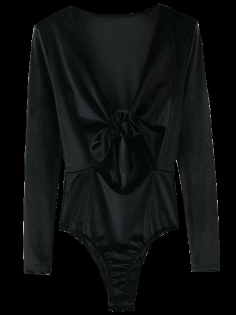 women's Front Knot Low Cut Velvet Bodysuit - BLACK M Mobile