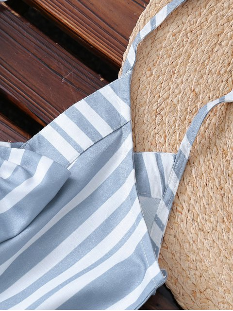 online Striped Spaghetti Strap Back Knotted Romper - COLORMIX S Mobile