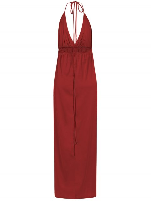 outfits Strappy Sateen Maxi Evening Dress - RED S Mobile