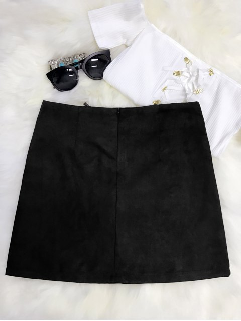 hot Embroidered Mini Faux Suede Skirt - BLACK L Mobile