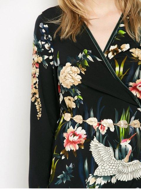 womens Oriental Print Midi Wrap Dress - BLACK S Mobile