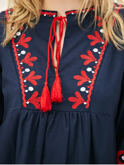 latest Lantern Sleeve Embroidered Smock Dress - PURPLISH BLUE S Mobile