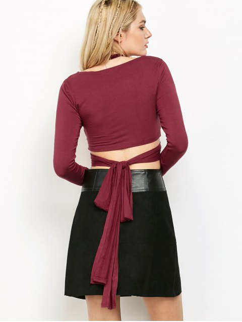 shop Long Sleeve Wrap Tie Criss Cross Crop Top - BURGUNDY XL Mobile