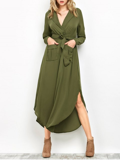 womens Chiffon Lapel Collar Longline Blouse - GREEN M Mobile