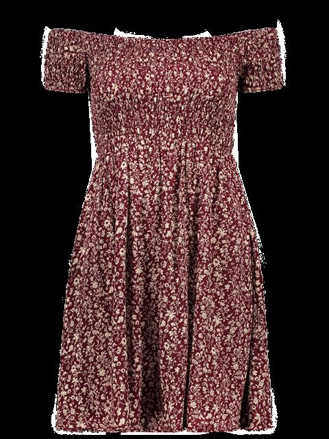 fashion Smocked Tiny Floral Print Off The Shoulder Dress - WINE RED S Mobile