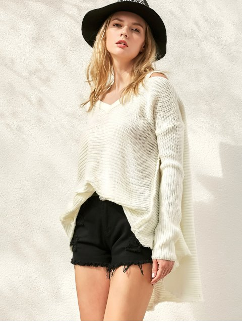chic Distressed Cold Shoulder Sweater - WHITE ONE SIZE Mobile