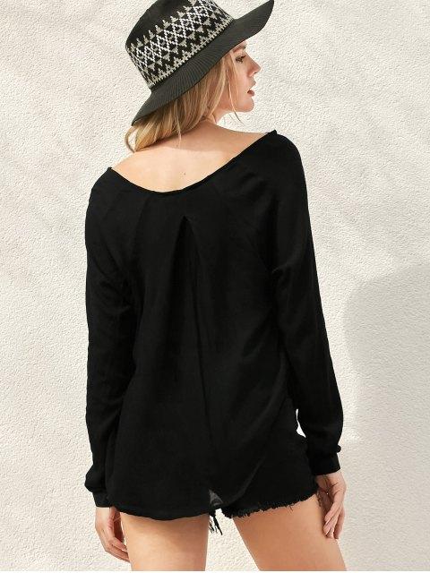 unique Surplice High Low T-Shirt - BLACK S Mobile