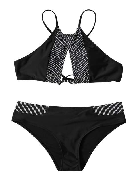 outfit Stripe High Neck Cutout Bikini - BLACK M Mobile