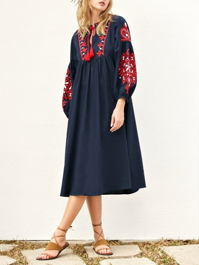 Lantern Sleeve Embroidered Smock Dress - Purplish Blue