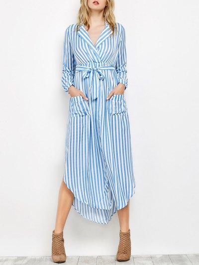 Striped Slit Maxi Dress With Pockets - Blue
