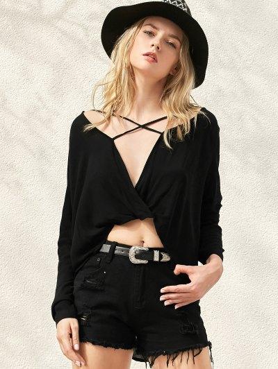 Surplice High Low T-Shirt - Black