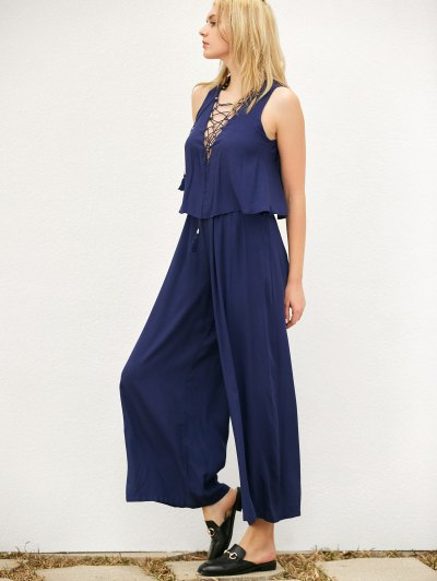 Layered Lace Up Palazzo Jumpsuit - CADETBLUE 2XL Mobile