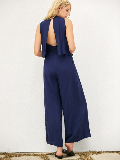 Layered Lace Up Palazzo Jumpsuit - CADETBLUE L Mobile