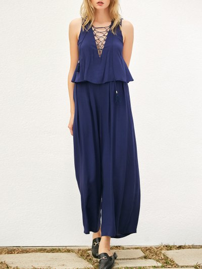 Layered Lace Up Palazzo Jumpsuit - CADETBLUE S Mobile