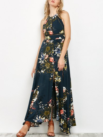 Crochet Insert Floral Print Maxi Dress - Peacock Blue S