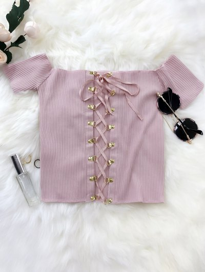 Lace Up Off The Shoulder Cropped Top - Suede Rose