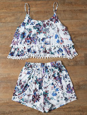 Floral Print Layered Cami Top And Shorts - Blue