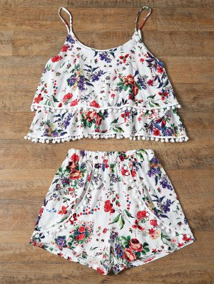 Floral Print Layered Cami Top And Shorts - Red