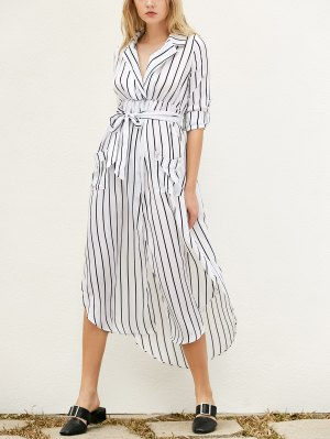 Slit Striped Long Sleeve Dress With Pockets - White