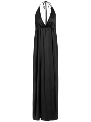 Strappy Sateen Maxi Evening Dress - Black