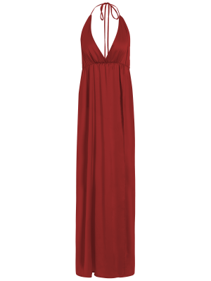 Strappy Sateen Maxi Evening Dress - Red