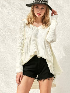 Distressed Cold Shoulder Sweater - White