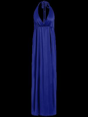 High Slit Crisscross Maxi Dress - Blue