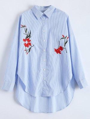 Slit Floral Embroidered Striped Shirt - Stripe