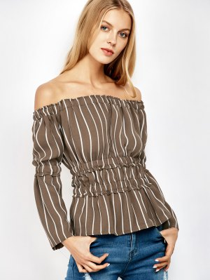 Ruched Off The Shoulder Striped Blouse - Stripe