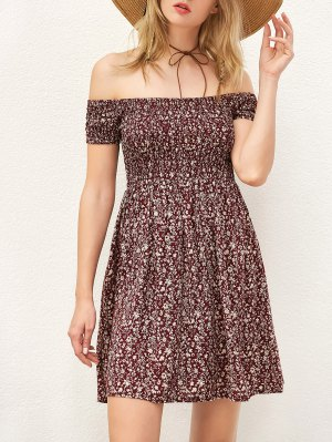 Smocked Tiny Floral Print Off The Shoulder Dress - Wine Red
