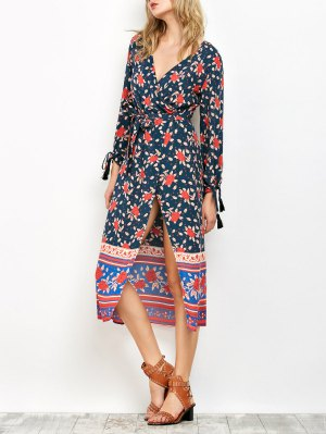 Bubble Sleeve Printed Wrap Dress - Cadetblue