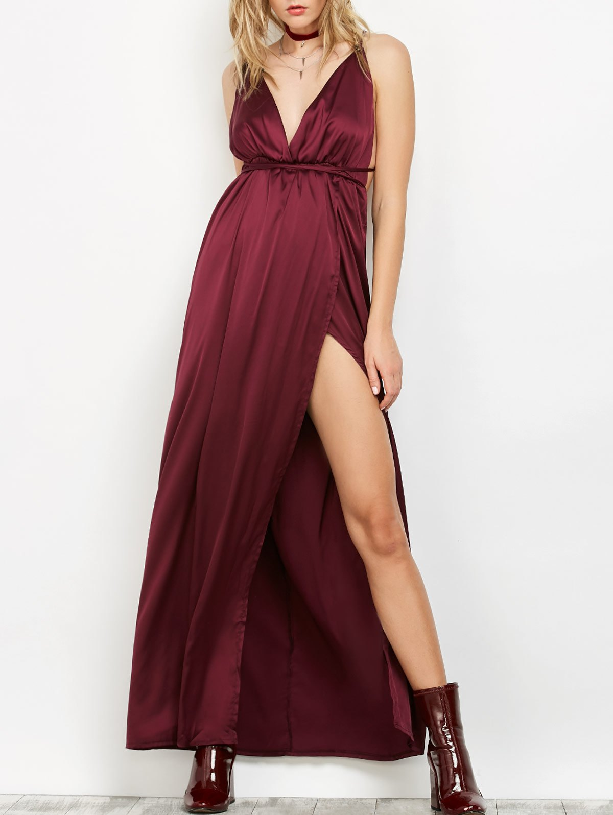 Backless Plunge Evening Gown DressClothes<br><br><br>Size: S<br>Color: PURPLISH RED