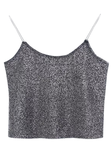 Glitter Cropped Cami Top - Gray